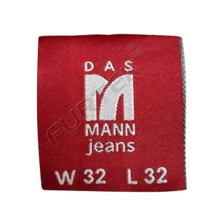 Жаккардовая вшивная бирка для маркировки джинсовой одежды