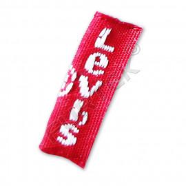 Вшивной брендированный жаккардовый ярлык со сформированным сгибом 10х20 мм