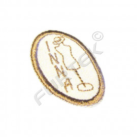 Пришивная хлопковая этикетка овальная с вышивкой