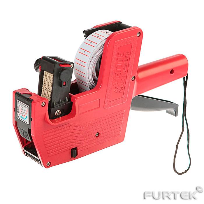 Этикет пистолет с рулоном этикет-ленты красного цвета.