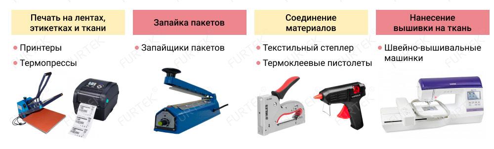 Аппликатор этикеток, горячие ножницы, запайщики пакетов