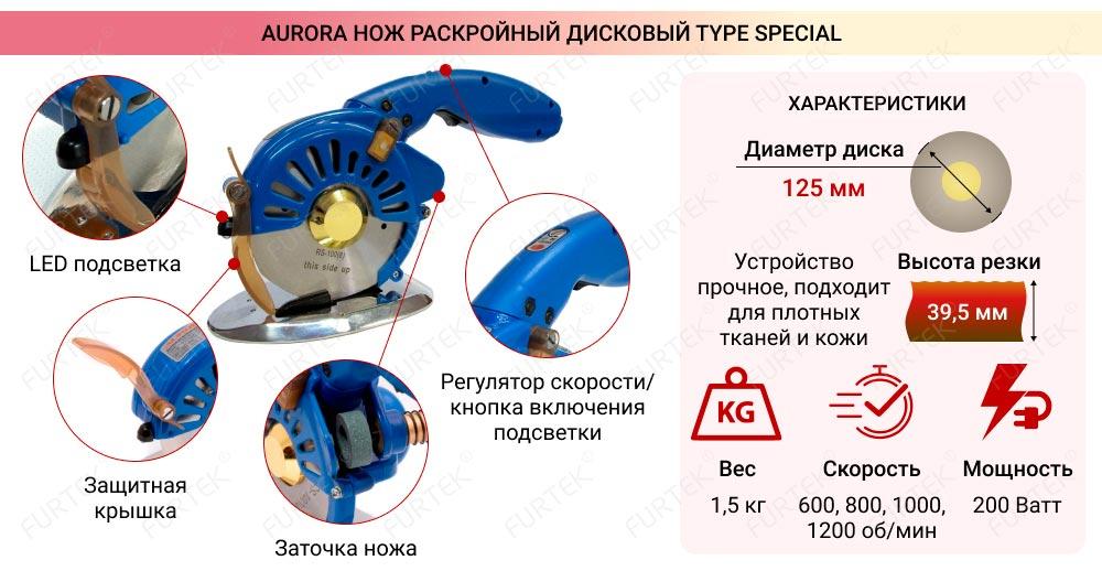 Нож раскройный дисковой S/RCS-125 Aurora