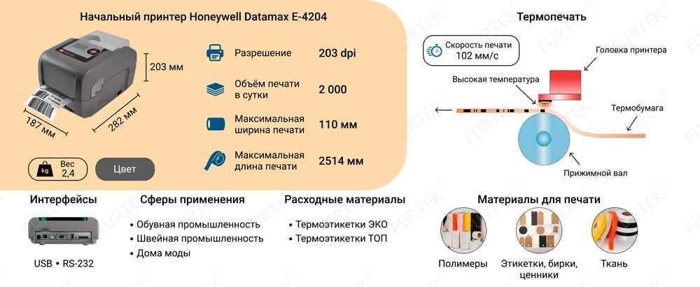 Характеристики настольного принтера Datamax E-4204