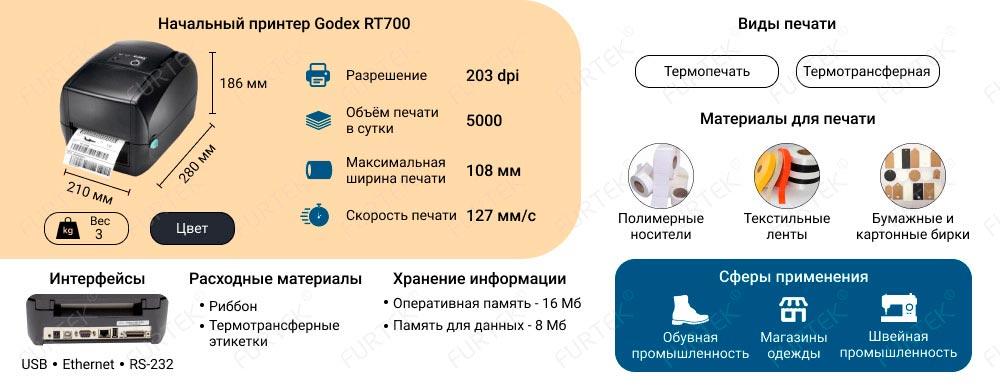 Особенности термотрансферного принтера Godex RT700
