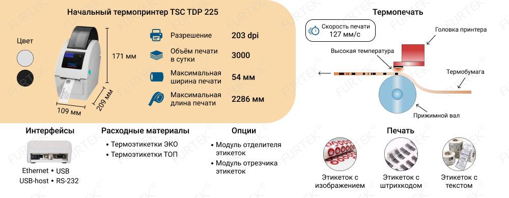 Характеристики термопринтера TSC TDP 225