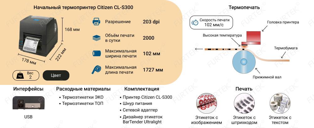 Характеристики термопринтера начального класса Citizen CL-S300