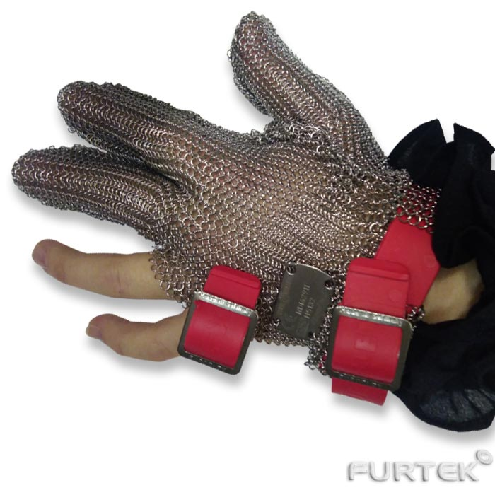 Перчатка кольчужная трехпалая, размер М (красный)
