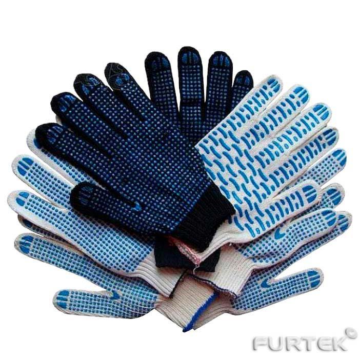 Показаны хб перчатки сложенные стопкой белого и черного цветов с пвх разного вида, точка, полоска и тп