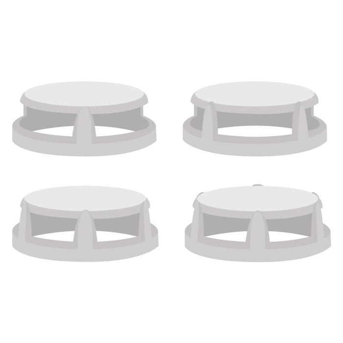Варианты крышек приварного клапана: с двумя, тремя, четырьмя и шестью окошками