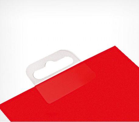 Еврослоты самоклеющиеся приклеен на красную упаковку
