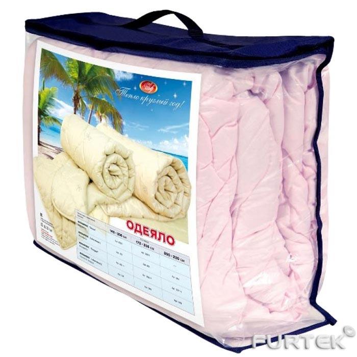 Упаковка для одеял, подушек и пледов в виде чемодана с прозрачным окном из пленки отделкой из текстиля и ручкой сверху. Цвет изделия синий