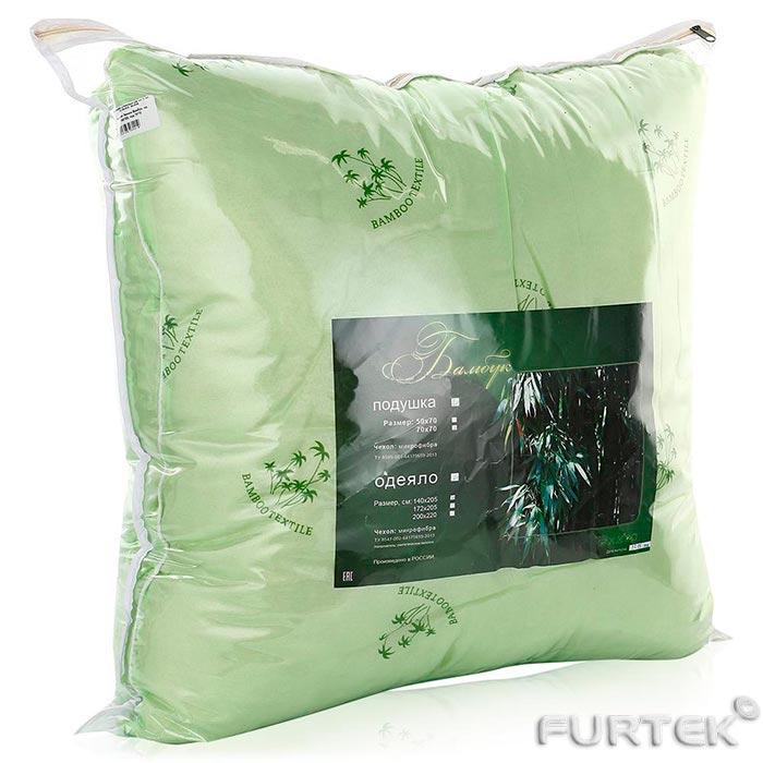Чехол на подушку на молнии из ПВХ внутри подушка с бамбуковым наполнителем зеленого цвета