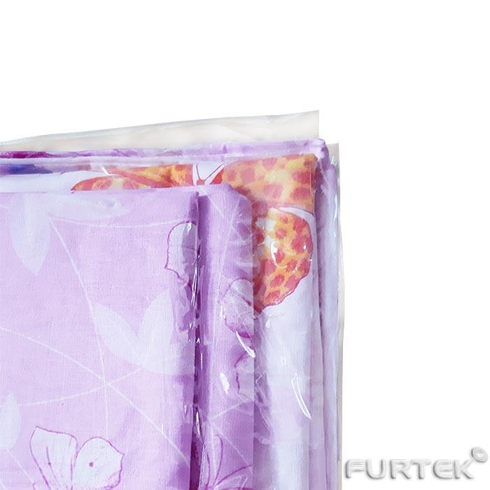 Постельное белье в пакете из ПВХ с фигурным клапаном