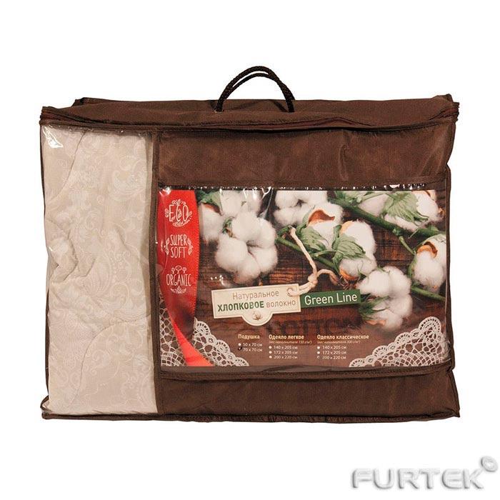 Упаковка для подушек из спандбонда коричневого цвета с прозрачным окошком