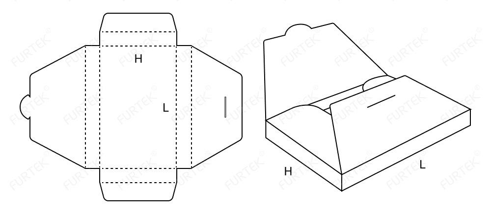Схема картонной коробки-конверт