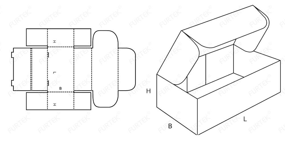 Схема коробки с крышкой-клапаном наверху