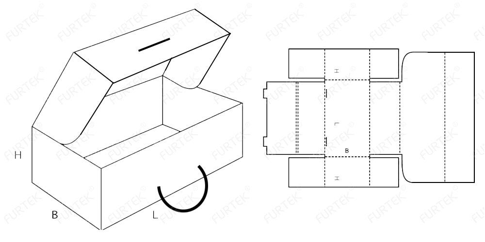 Схема коробки чемодана с ручкой