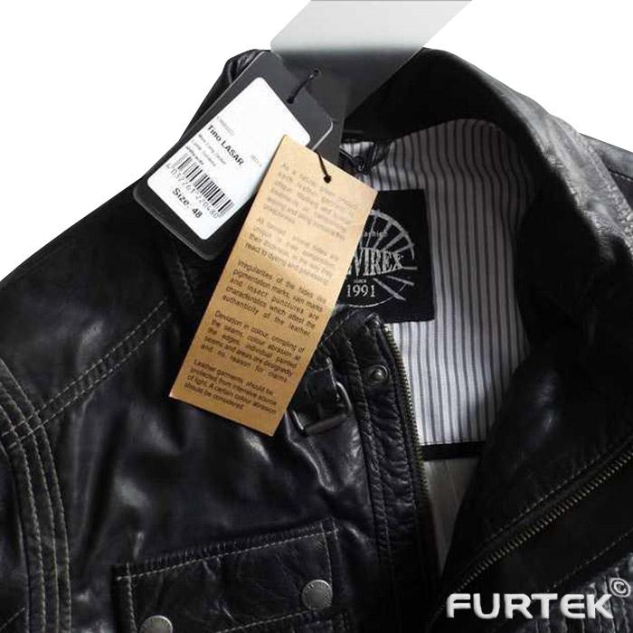Кожаная куртка с навесными бирками