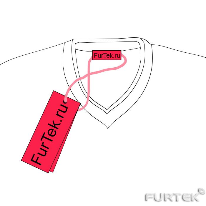 Схема картонной бирки со сгибом на свитере