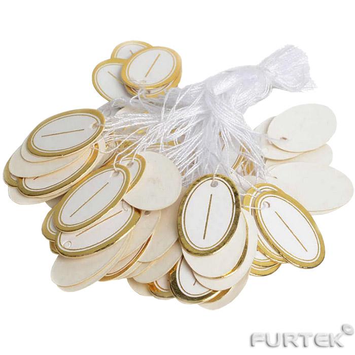 Этикетки для ювелирных изделий белые с золотом