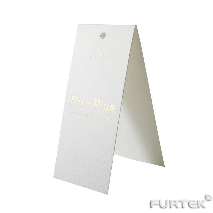 Бирка белая картонная со сгибом пополам