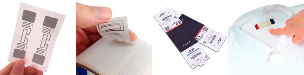 Демонстрируется одежда с прикрепленными этикетками с встроенными чипам rfid, что бы показать насколько метки не заметны и не мешает продажам