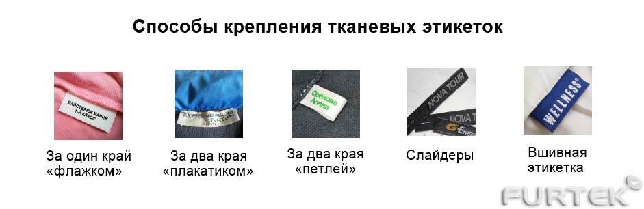 показаны способы крепления тканевых этикеток