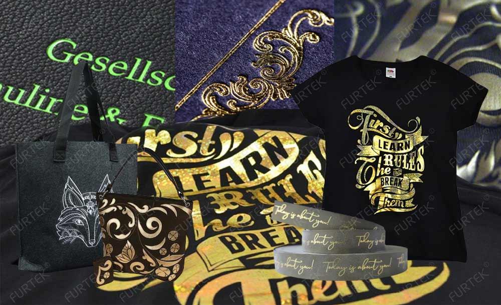 примеры работ с помощью тисенения фольгой Kurtz на одежде, обуви, кожанных ремнях и сумках