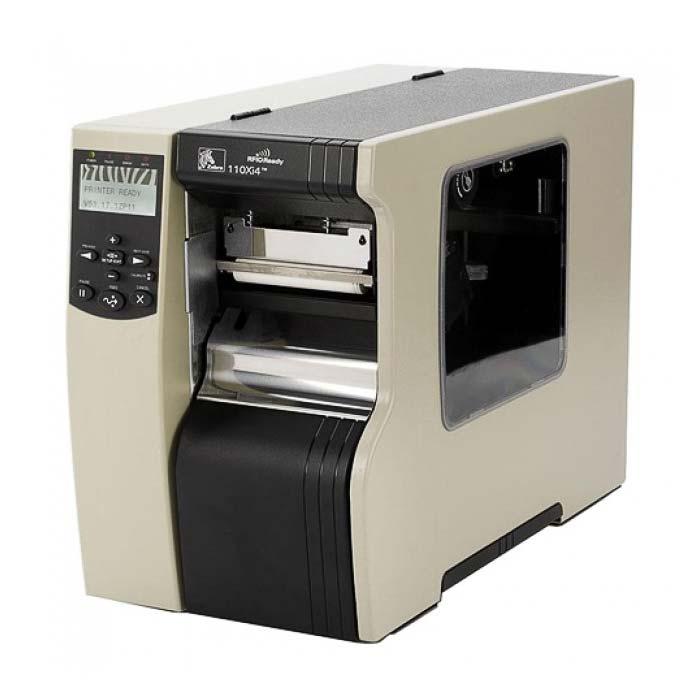 Примышелнный принтер этикеток зебра. Стоит полуразвернутым. Видно что боковая сторона оснащена вставкой из стекла для наблюдения за процессом работы и контроля расходных материалов