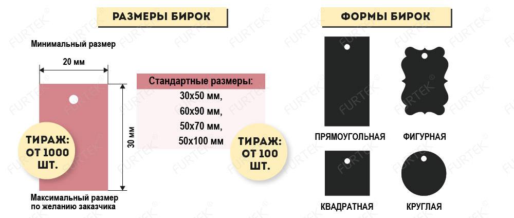 Размеры и формы для бирок инфографика