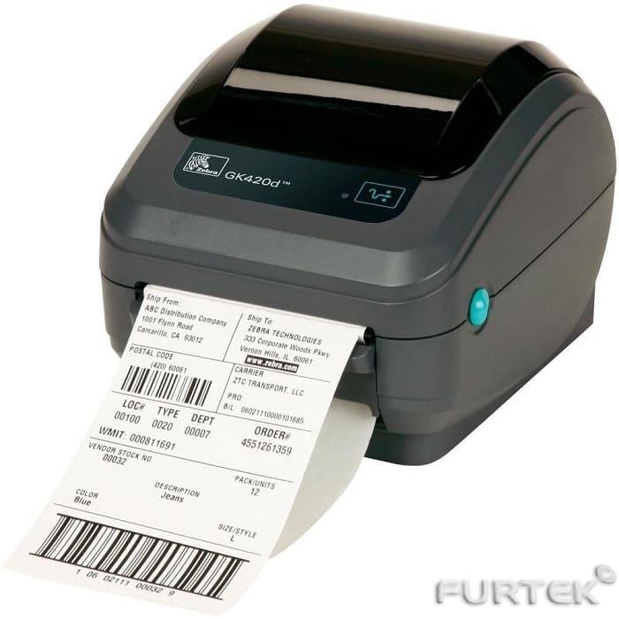 Печать этикеток на термотрансферном принтере этикеток Zebra GK-420d