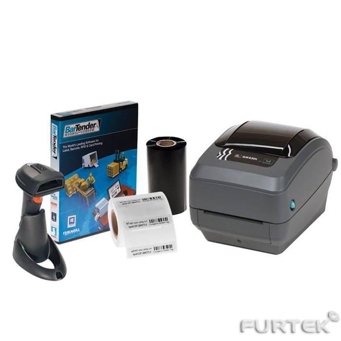 Термотрансферный принтер Zebra GX430t, сканер штрихкода, риббоны