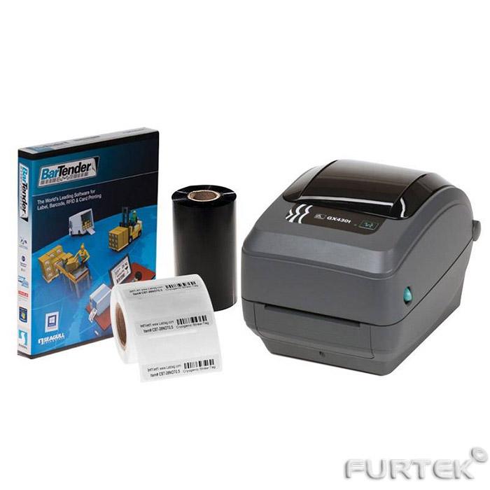 Термотрансферный принтер Zebra GX430t серый и очки солнцезащитные