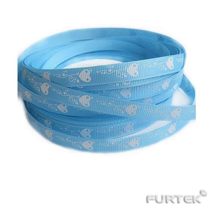 Лента из сатина с сердечками голубого цвета