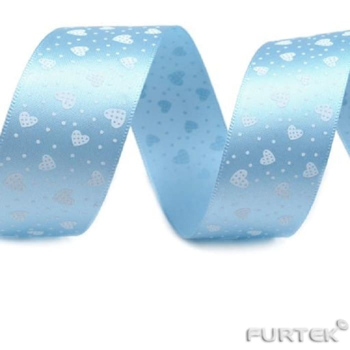 Лента сатиновая с печатью сердечек голубая
