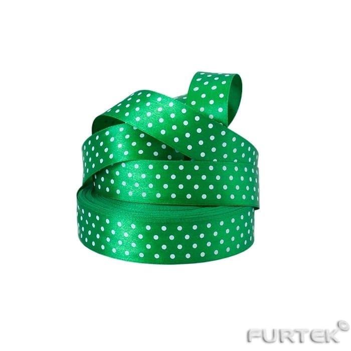 Сатиновая лента в рулонах зеленая в горошек длиной по 50 и 100 м