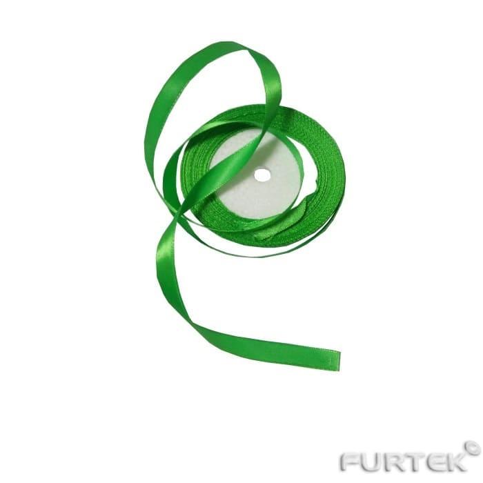 Зеленая атласная лента 12 мм в рулоне 33 метра