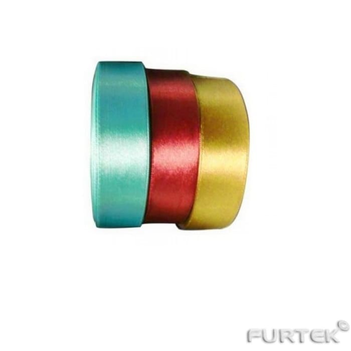 Три атласные ленты бирюзовая, красная и желтая