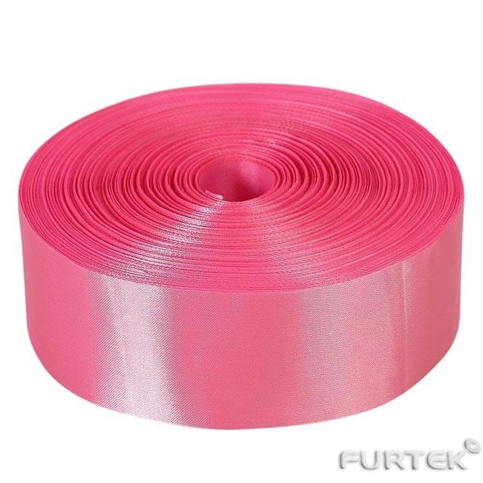 Атласная лента розовая премиум в рулоне шириной 25 мм длиной 100 м