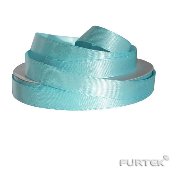Двусторонняя атласная лента голубого цвета