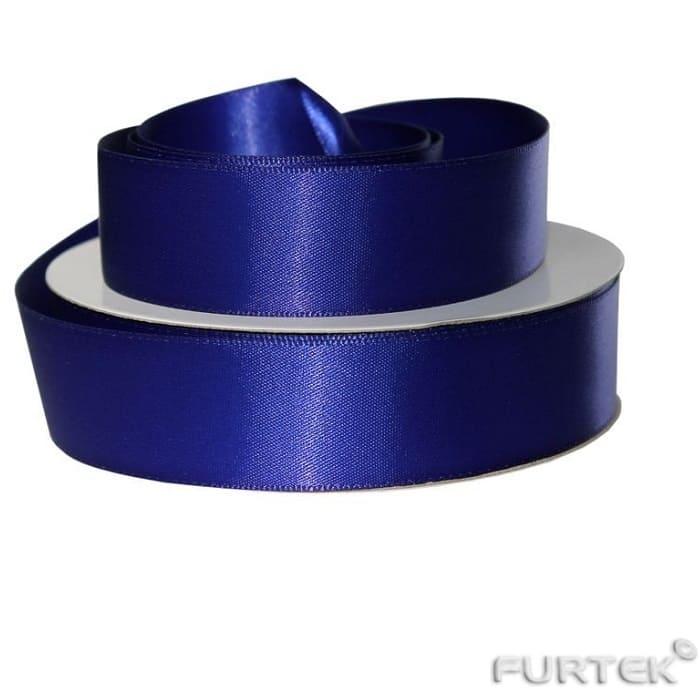 Двусторонняя атласная лента синего цвета