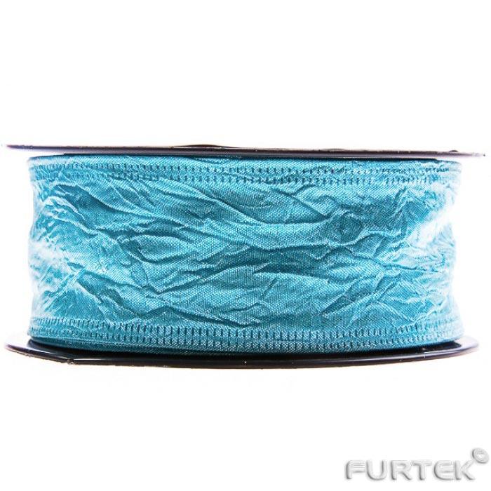 Тафтяная лента голубого цвета в бабине