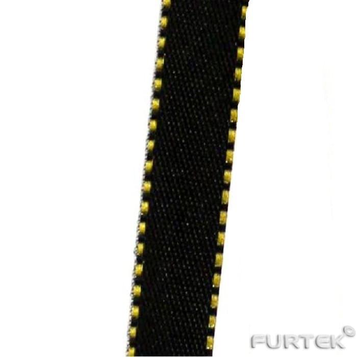 Лента черная нейлоновая с желтой окантовкой