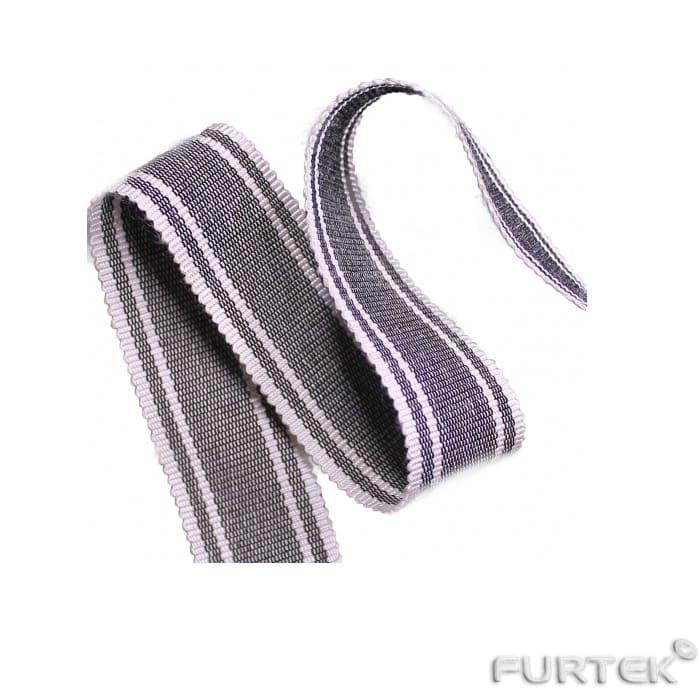 Нейлоновая лента шириной 25 мм серая прошита белыми нитками