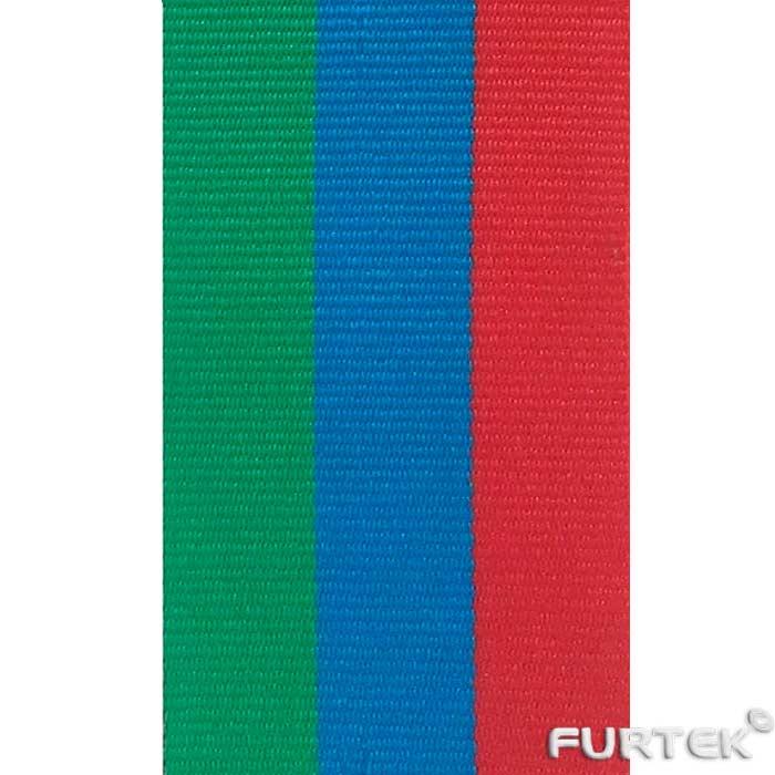 Репсовая лента зелено-сине-красная