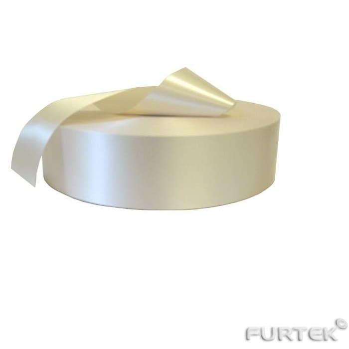 Сатиновая лента в рулоне 100 м иди 200 м кремовая шириной 12 мм