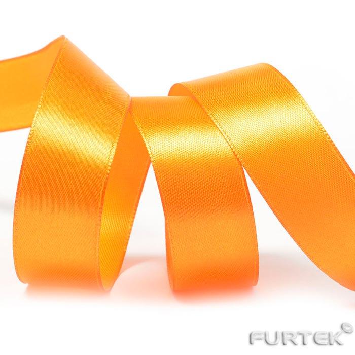 Лента сатиновая апельсинового цвета 100 м