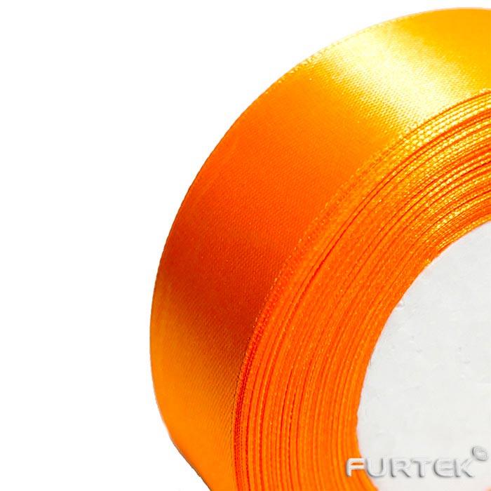 Лента сатиновая цвета апельсин в рулоне 400 м