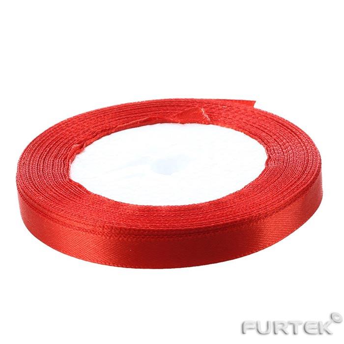 Лента ярко-красная сатиновая в рулоне 200 м