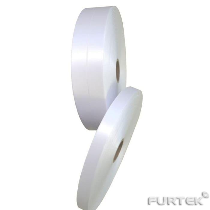 Лента сатиновая белая двухсторонняя с тканым краем шириной 35 мм продается в рулонах по 100 и 200 м